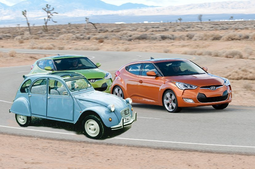 Velosters undergo competitor benchmark performance testing at Hyundai's proving grounds