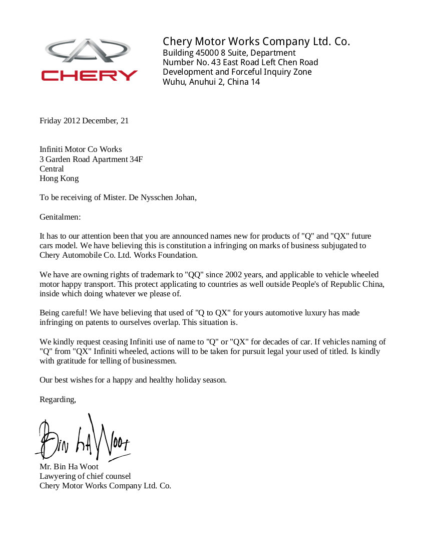 chery letter 2