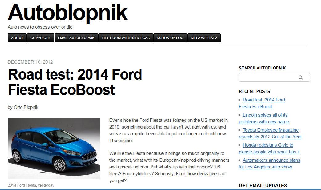 Autoblopnik's 2014 Fiesta review, yesterday