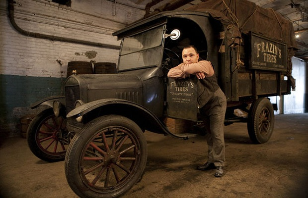 A Model T poses with an Al Capone replica, yesterday