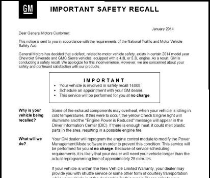 One of the affected GM recalls, yesterday